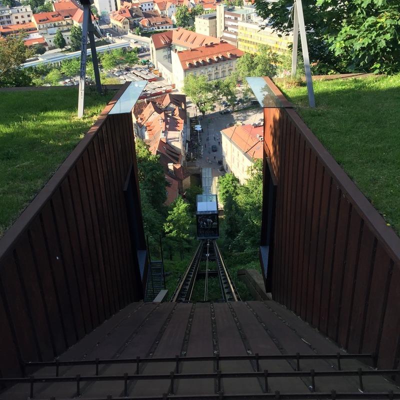 Mum getting the funicular down