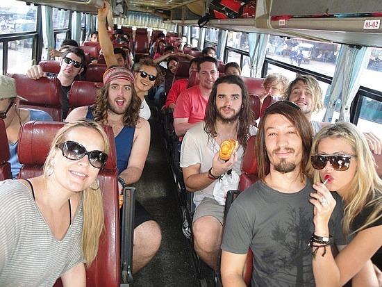 Team on the bus