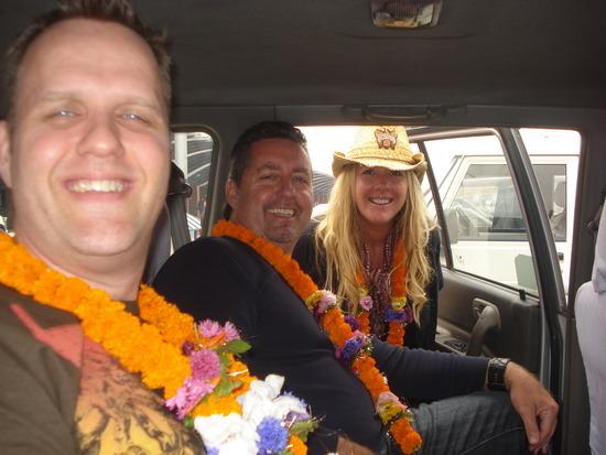 Skip, Mark & Leigh with their welcome leis