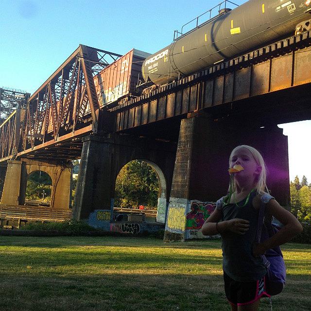Watching a long train cross the bridge