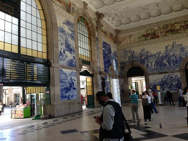 Tiled wall inside San Bento Station