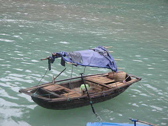Boat made out of a woven basket