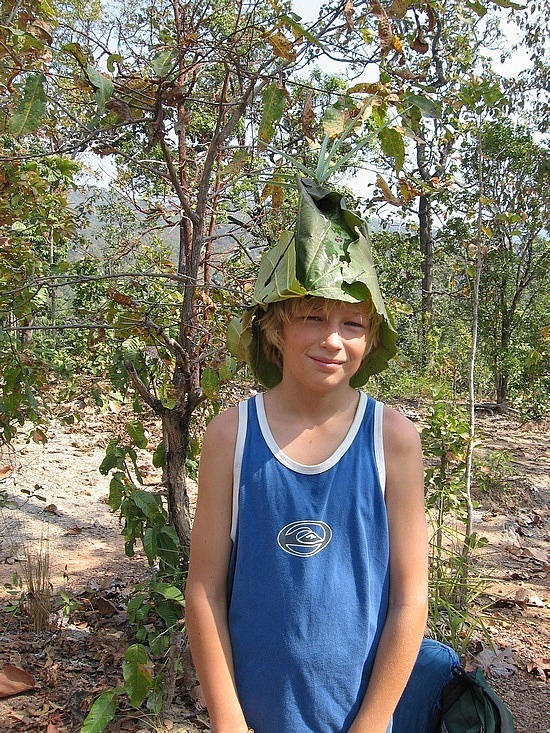 Leaf hat made for him