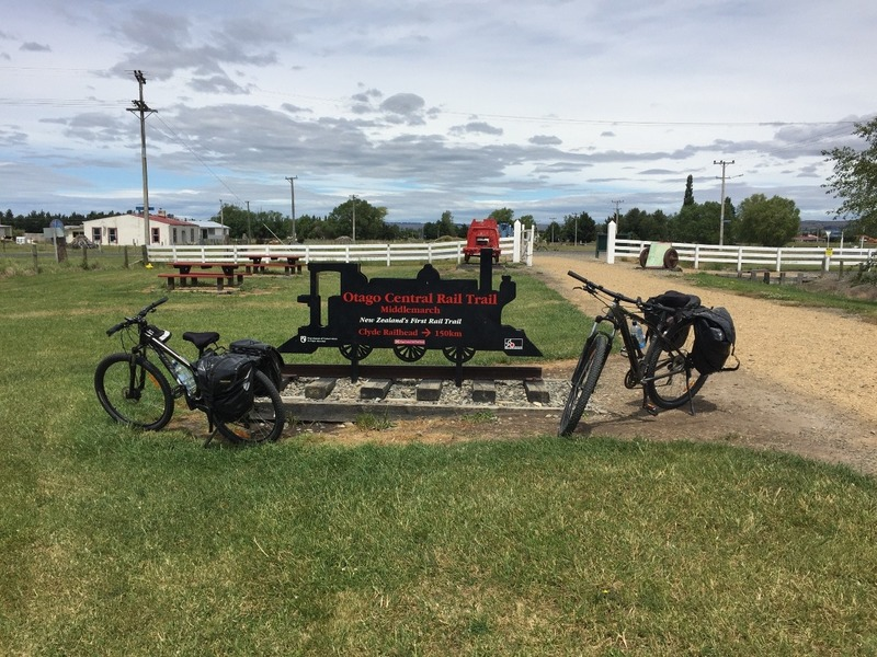 Our bikes by the finish sign