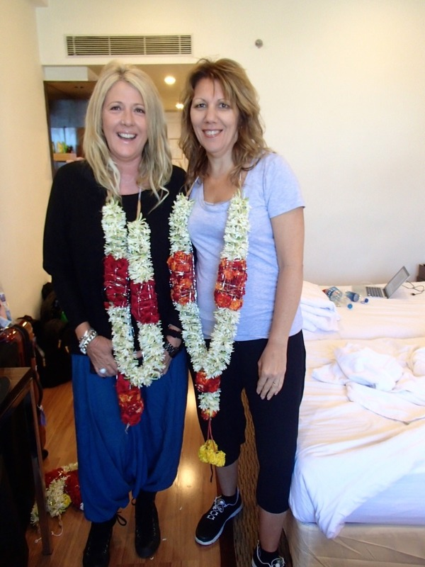 Leigh and Sandy wth their welcome flowers