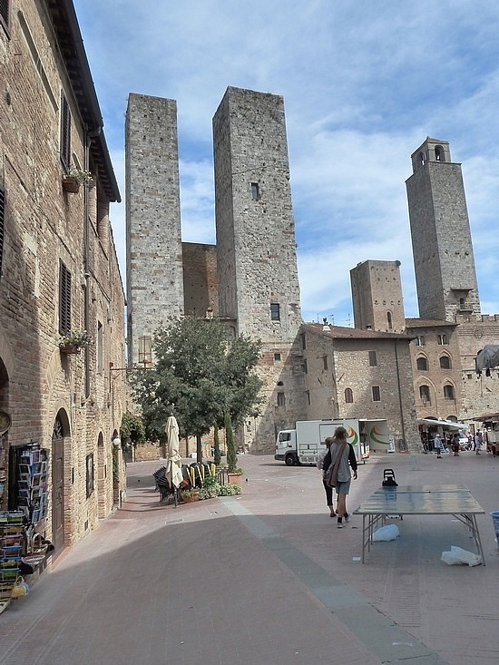 Three of the towers in San Gimignao