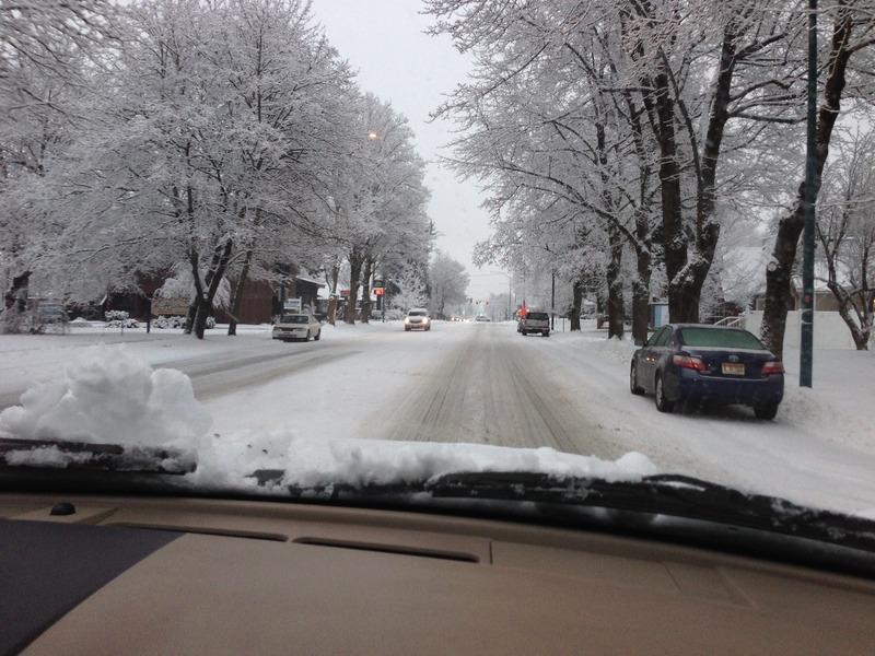 Snowy roads of Coeur d'Alene