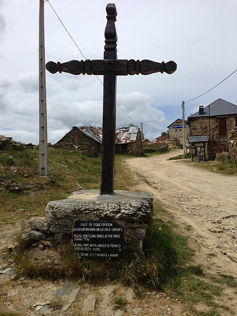 Cross marks the entrance to the one street