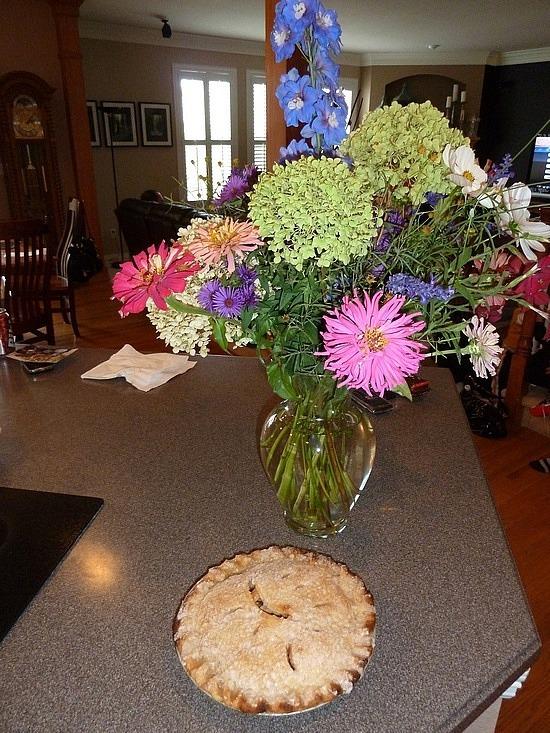 Debs flowers from her garden & apple pie!!