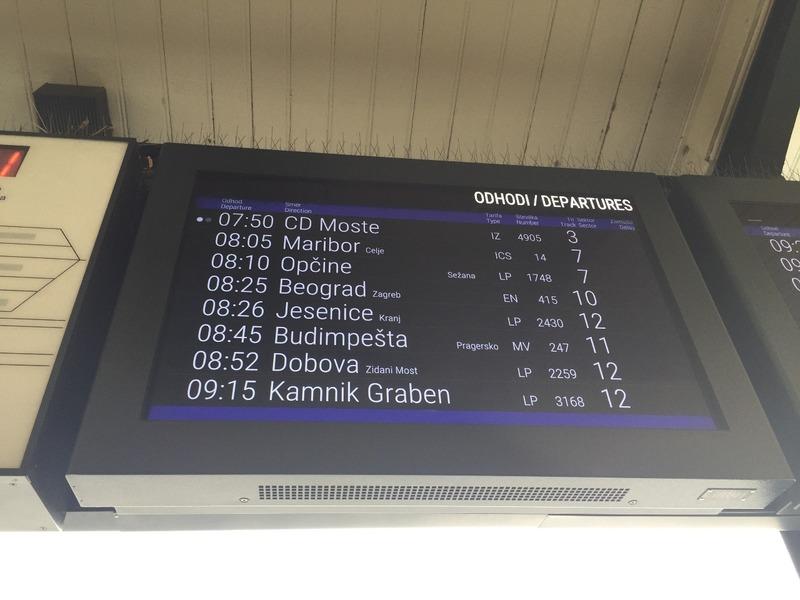 Train departure board - off to Belgrade or Beograd