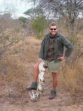Sean with Giraffe vertebrae