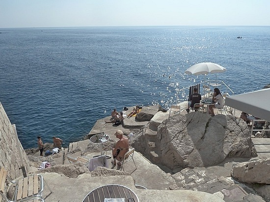 Cliff side swimming