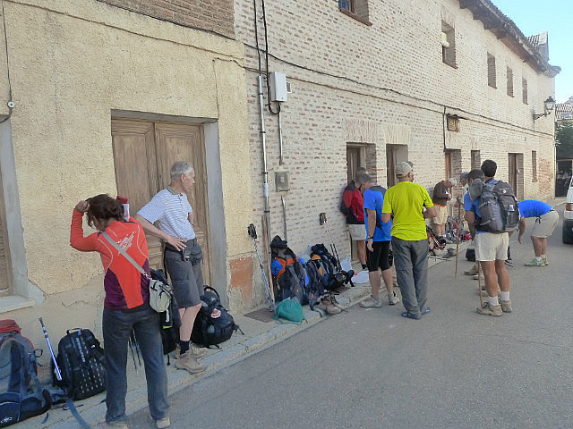 Lined up outside the albergue