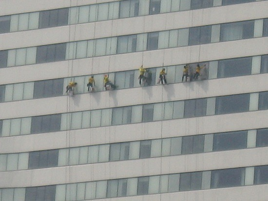 Close up of window cleaners