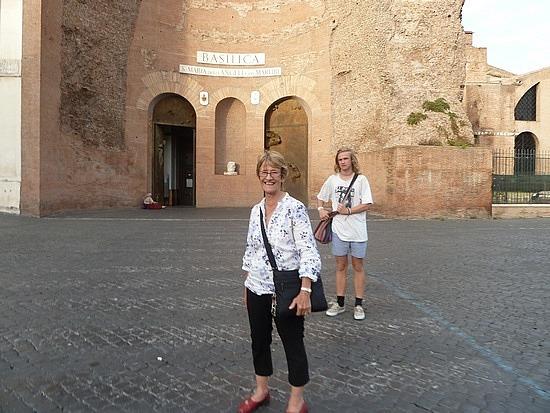 Mum outside Santa Maria degli Angeli Church
