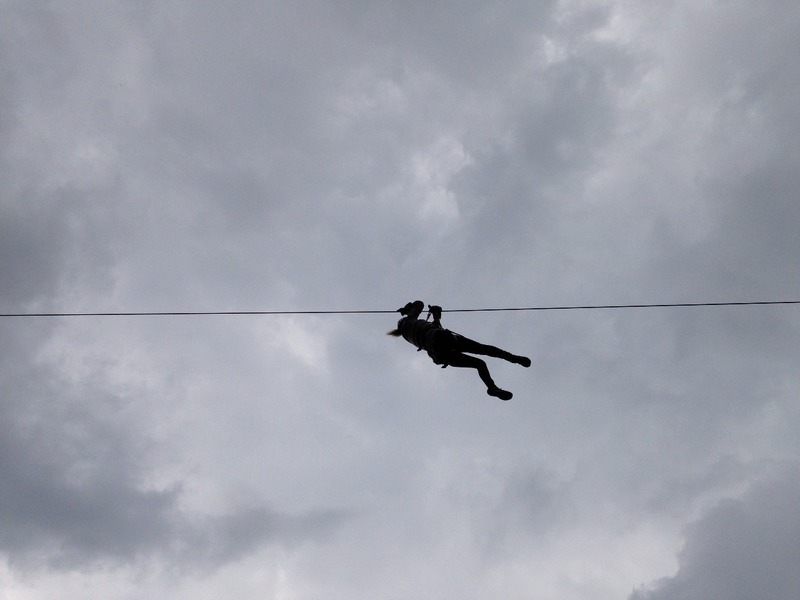 Me on the first zip-line  coming in to land
