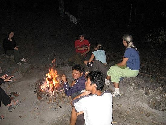 Keeping warm around the campfire