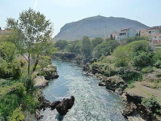Emerald green river near our hostel