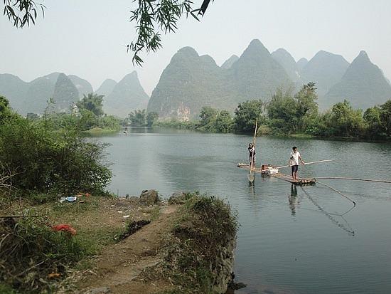 Beautiful Yulong River & local fishermen