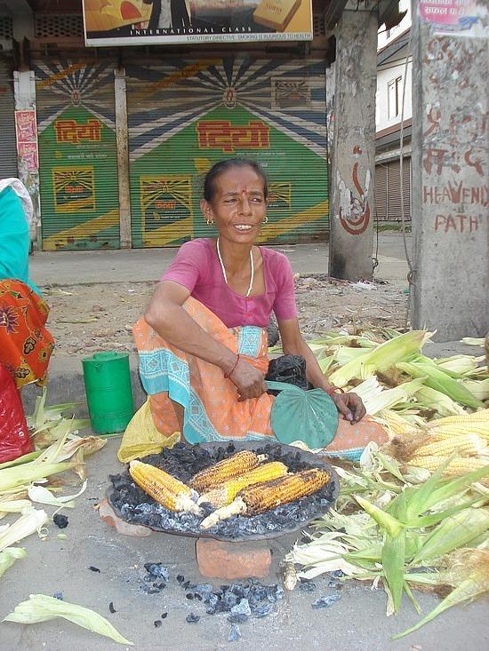 Corn cooking - main St Chitwan