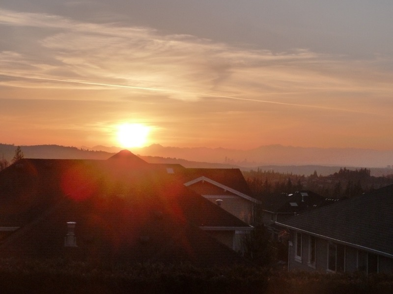 Sunset views over Seattle city