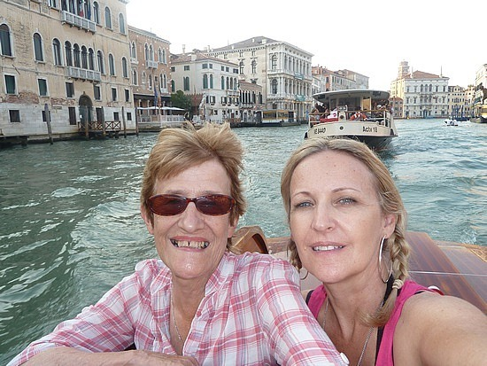 Mum and I on the taxi