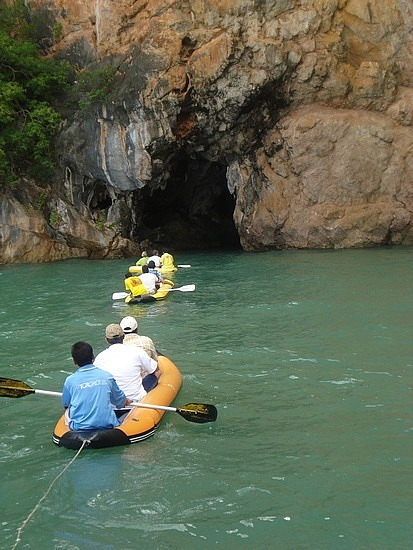 Kayaking into cave