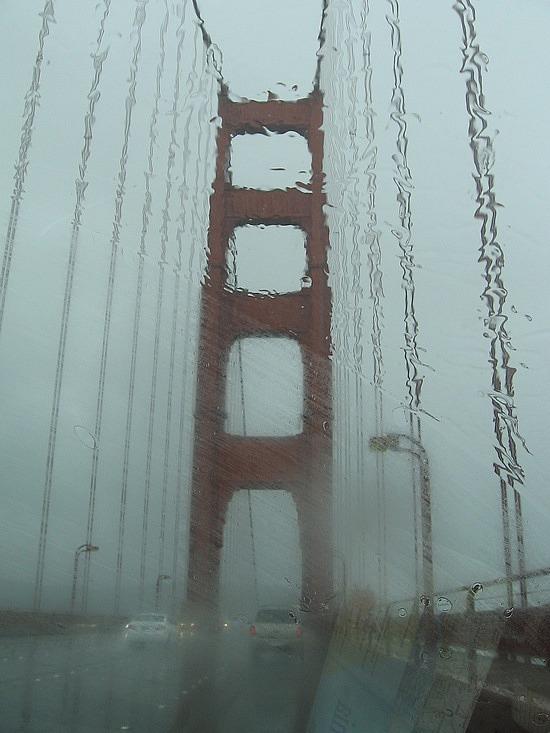 Golden Gate Bridge in the rain