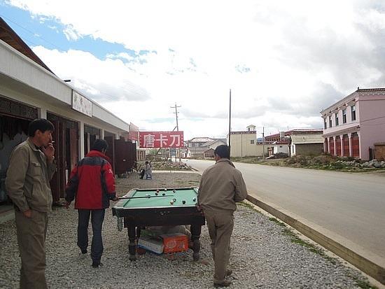 Billiards on the footpath