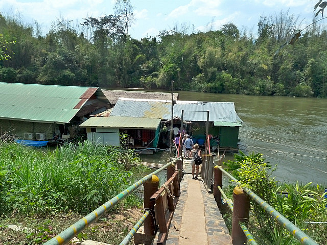 Walking down to floating restaurant