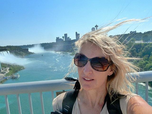 Windswept on bridge