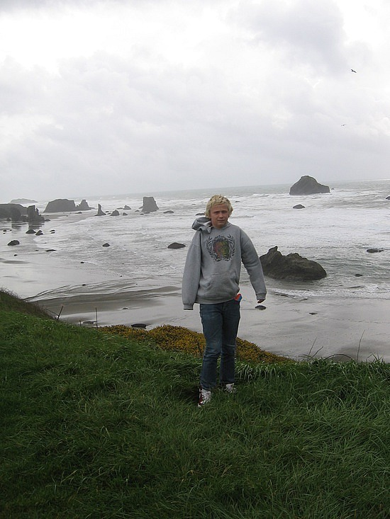 Nath in front of the hundreds of small island rock