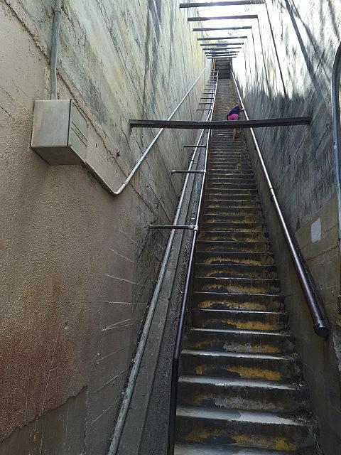 Steep steps up