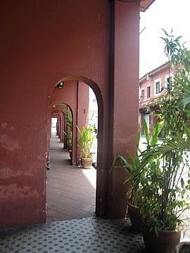 Covered walkway outside shops
