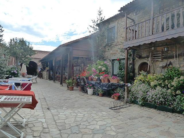 Inside the albergue courtyard