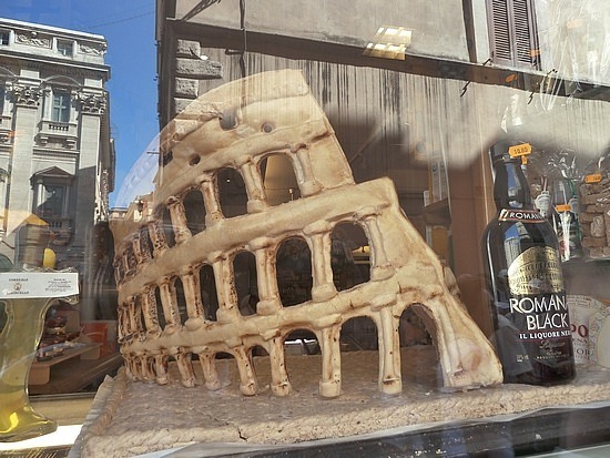 Colloseum made of bread in a bakery