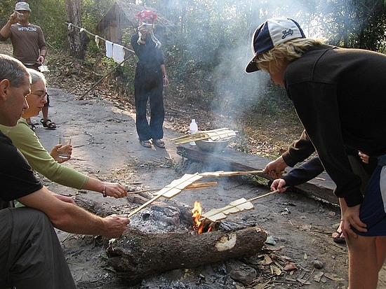 Cooking rice in campfire