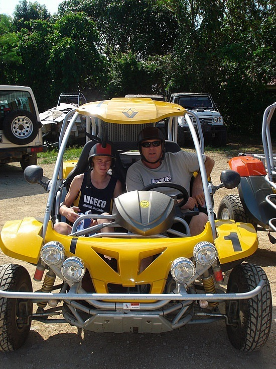Brad & Nath in a buggy