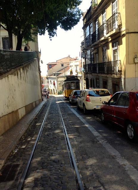 Tram in narrow street