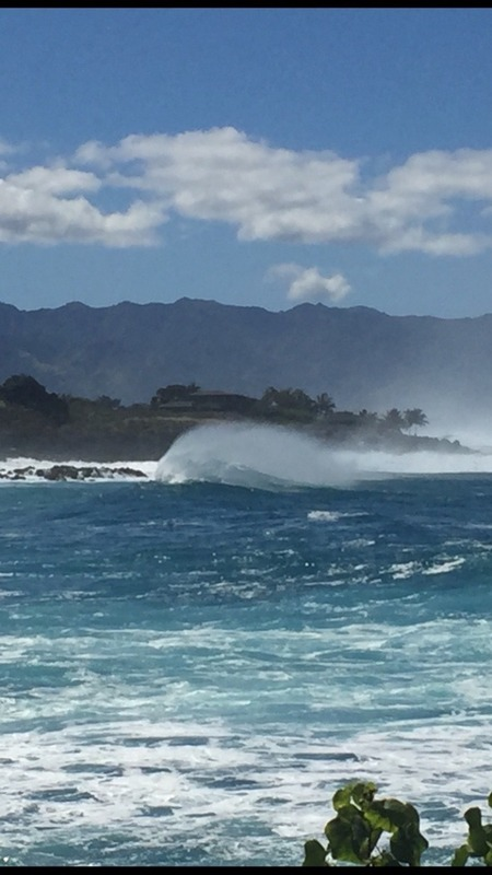 Huge spray off the back of the waves
