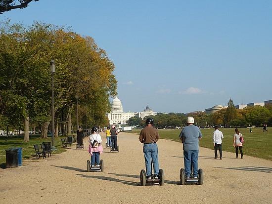 Segways going through National Mall