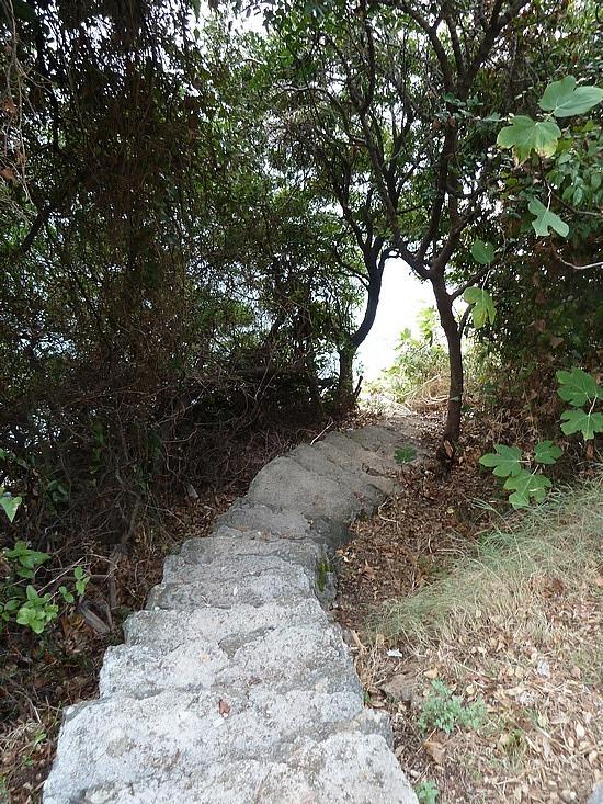 Steps down to rocky platforms to swim from