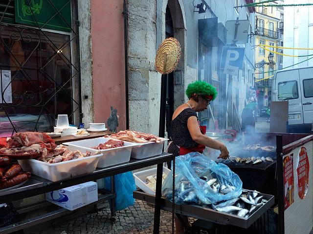 Cooking sardines and chorizo