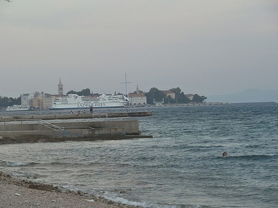 Ship by old Zadar town