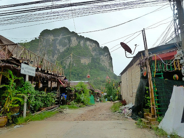 Looking back to the cliffs that dwarf Centara