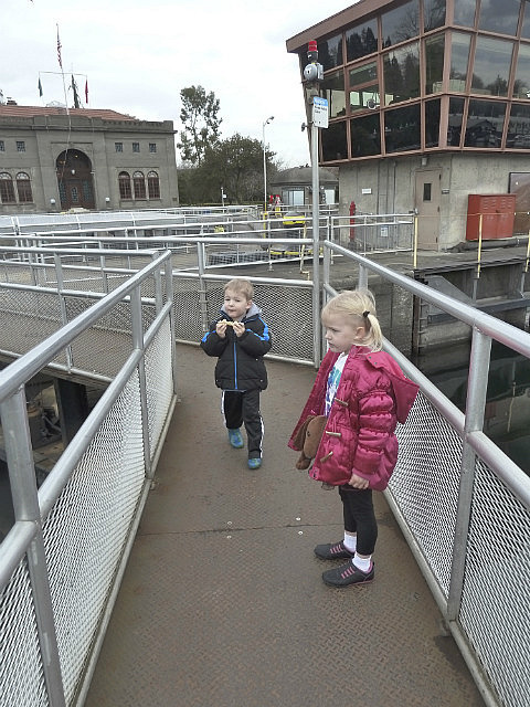Lock gates - watching a boat come in