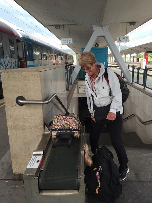 Handy little bag conveyor up station steps!