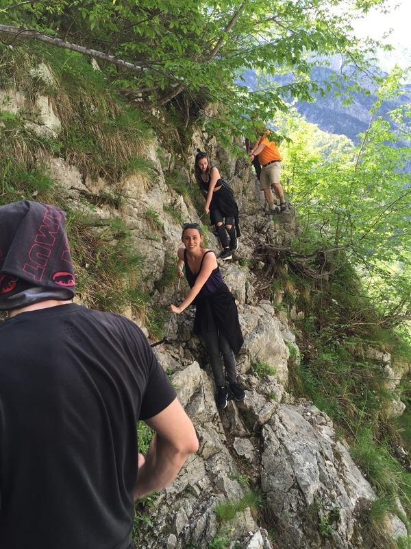 The girls coming down the cliff side
