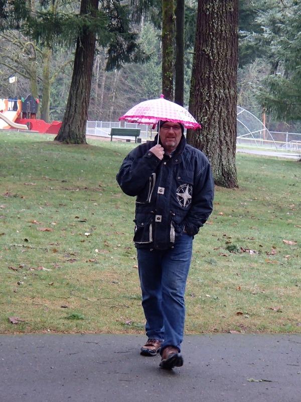 Brad with Alaiya's umbrella Lake Wilderness