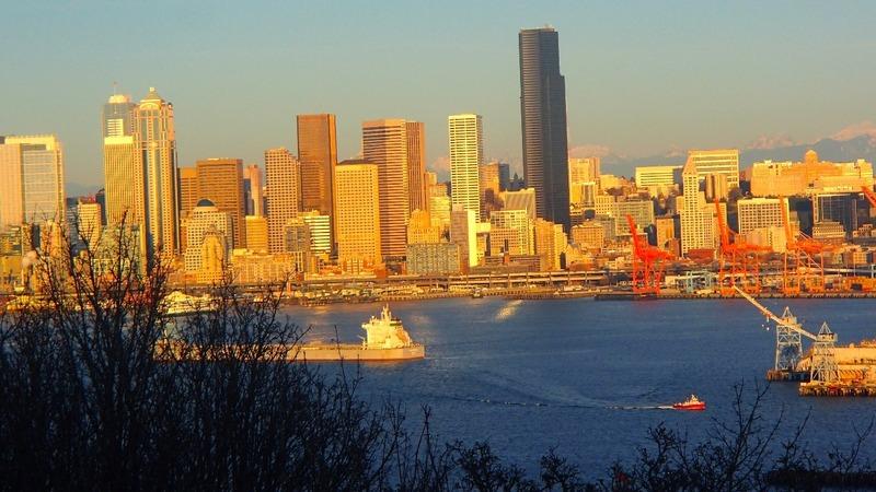 Sun shining on Seattle city